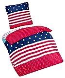 Aminata Kids - Kinder-Bettwäsche-Set 135-x-200 cm USA Amerika-Motiv amerikanisch-e Flagge-n 100-% Baumwolle Renforce Weiss-e rot-e blau-e