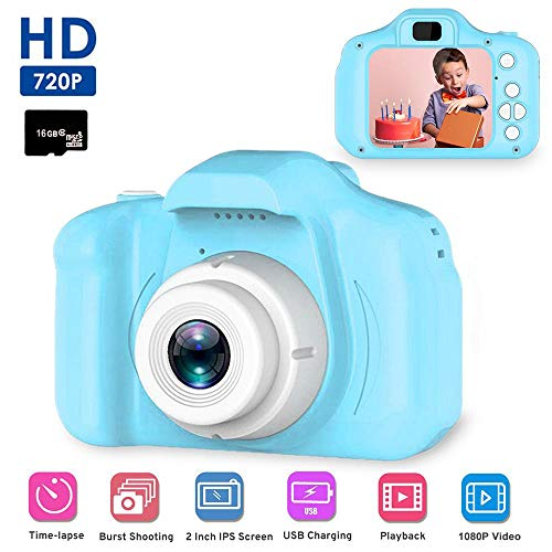 Digital Camera for Kids,Mini 2.0 Inch Color IPS Screen 8MP Kid Video Camera, HD Video Recorder 1080P with Anti-Drop Silicone Shell for 3 4 5 6-10 Years Boys Girls Gift(Pink, Include 16G TF Card)