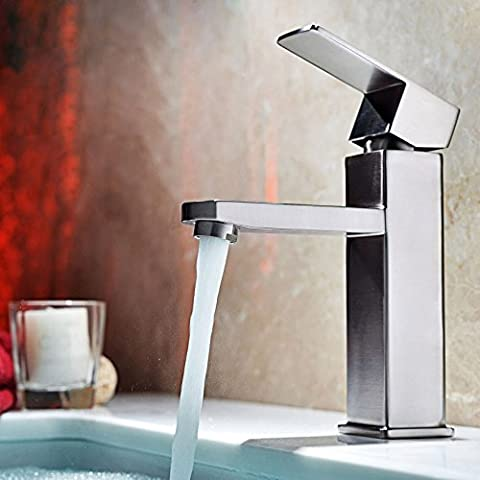 jiuzhuo monocomando monoblocco in acciaio inox rubinetto per lavabo, nichel spazzolato