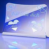 Liebesbotschaft - Ich liebe dich - auf Acrylglas mit persönlicher Lasergravur & LED Beleuchtung by Laserbox | LED Schilder Leuchtschilder LED Schriftzug Plexiglas LED Leuchtschild | Geschenke mit Herz (blau)