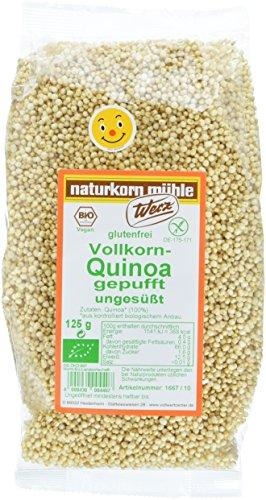 Werz Vollkorn-Quinoa gepufft ungesüßt, glutenfrei, 2er Pack (2 x 125 g Beutel) – Bio