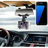 Supporto Smartphone specchietto retrovisore per Samsung Galaxy S7 edge, nero | Specchio Holder staffa auto - K-S-Trade (TM) - Guida All'acquisto Holder