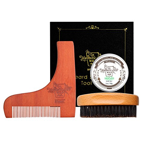 BFWood Juego de Cepillo y Peine Para Barba – Cepillo de Barba de Cerdas de Jabalí Estilo Militar + Plantilla de Moldeado de Madera + Bálsamo de Barba 30g