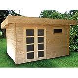 Gartenhaus ORIENTAL III Blockhaus 380x260cm - 28mm - Inkl. Fußboden+Verglasung - Gartenlaube Holzhaus Holzlaube