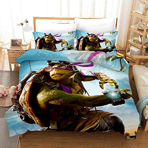 Set 100% Polyester-Baumwolle Teenage Mutant Ninja Turtle Printing Themed 3PCs Bettbezug-Sets komfortabel und weich (Color : E, Size : 228 * 228cm) ()