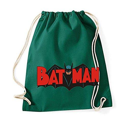 Youth designz algodón Turn Bolsa/Modelo Batman/bolsa mochila yute Bolsa Bolsa de deporte bolsa Fashion Hipster, color verde botella, tamaño Talla única
