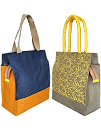 Foonty Shopping Bag (Blue And Grey, Fab-7) - Pack Of 2