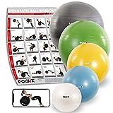 POWRX Gymnastikball Anti-Burst inkl. Pumpe | verschiedene Größen und Farben (Gelb/65 cm)