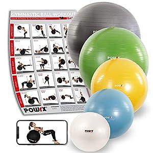 POWRX Gymnastikball Sitzball Anti-Burst inkl. Pumpe und Workout | Verschiedene Größen 55, 65, 75, 85, 95 cm und Farben