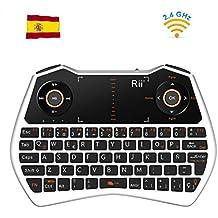 Rii Mini i28C Wireless teclado (layout Español) - Mini teclado ergonómico retroiluminado con doble ratón touchpad para Smart TV, Mini PC Android, , Pad, Andriod TV Box, Google TV Box, Raspberry PI, KODI XBMC TV Box, PS3, HTPC/IPTV, etc (ES-MWK28C Blanco)