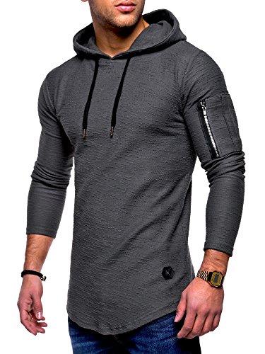 MT Styles Herren Oversize Hoodie Pullover Kapuzenpullover MT-7422 [Dunkelgrau, M]