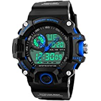 Mens Digital Watch, Outdoor Sports 5 Bars Waterproof Analogue Watches with ALM/SPL/SIG, Black Big Face Electonic LED Digital Sport Wrist Watch for Men Teenagers Boys Sold by UEOTO