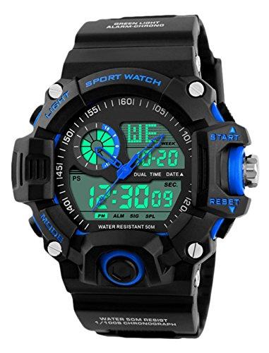 Herren Digital Armbanduhr, Outdoor Sports 5Bars Wasserdicht Analog Uhren mit Alm/SPL/Sig, schwarz big Face electonic LED Digital Sport Armbanduhr für Herren Jugendliche Jungen von ueoto (Jugend-fußball-uhr)