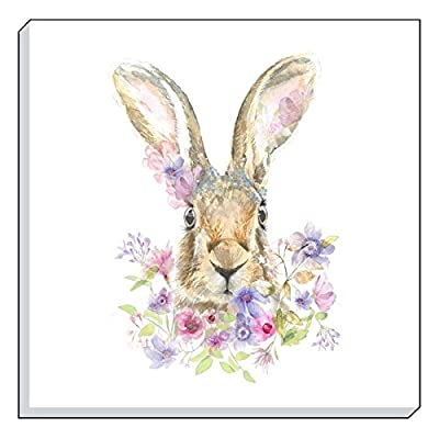 "Evans Lichfield Country Floral Hare Brown Lilac Canvas Wall Art Picture 40cm - 16"" produced by Canvas - quick delivery from UK."
