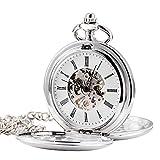 Treeweto double Open scheletro orologio da tasca meccanico mano vento completa Hunter orologi, argento