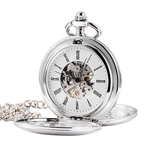 TREEWETO Retro Handaufzug Herren Mechanische Taschenuhr Silber Doppelabdeckungen Skelett Uhr Römische Ziffern Taschenuhren mit Kette und Geschenkbox