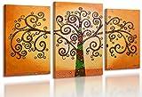 YS-Art Cuadro acrílico Árbol de la vida 2 | Pintado a mano | 130x80 cm | Arte moderno | Lienzo de pared | único | 3-partes