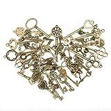 KING DO WAY Kit De 70 Pcs Pendentif Breloque Clé Clef Bronze Antique Rétro Vintage DIY Bricolage Collier Bijoux Accessories Pendant Keys