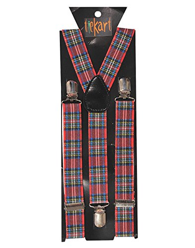 Tiekart men multi checked suspenders