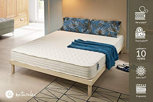 NATURALEX Matelas Soft Sensation - Mousse Aero Latex Bi-Densité - Mémoire de Forme Thermosoft - 7 Zones de Confort - Hypoallergénique - 15 cm - 140 x 190 cm