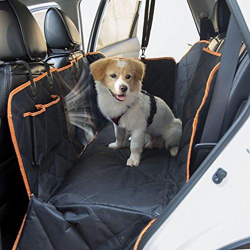 Hund Autositzbezug autodecke für hunde Autoschondecke, SlowTon Wasserdichte Haustier-Auto-Rücksitz-Hängematte mit rutschfestem hinterem Gummiboden, mit Reißverschluss Schiebeklappen, Taschen und Maschen-Sichtfenster