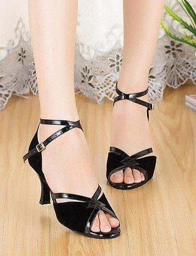 ShangYi Chaussures de danse ( Autre ) - Non Personnalisables - Talon Cubain - Cuir / Cuir Verni - Latine / Jazz Black