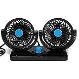 Car Fan 360 Rotierende Freie Anpassung Dual Head Auto Auto Cooling Air Fan Leistungsstarke Quiet 2 Drehbare 12V Belüftung Dashboard Electric