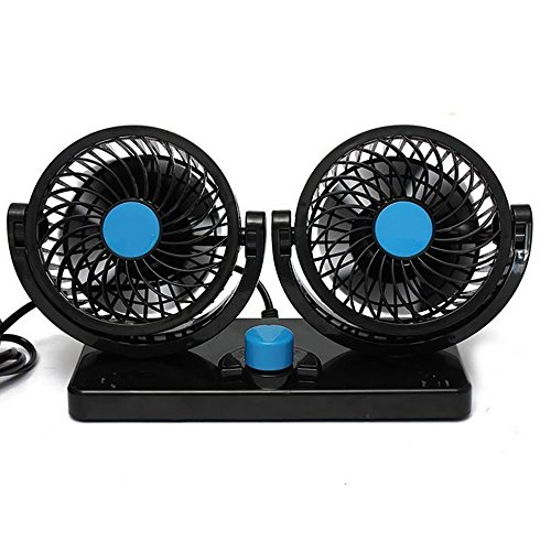 Car Fan 360 Rotierende Freie Anpassung Dual Head Auto Auto Cooling Air Fan Leistungsstarke Quiet 2 Drehbare 12V Belüftung Dashboard Electric