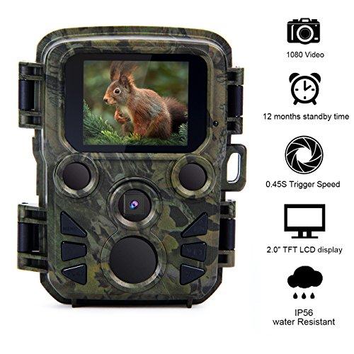 """Donnagelia Mini Wildkamera Fotofalle mit Bewegungsmelder 20m Nachtsicht 1080P 2,4\"""" LCD Bildschirm Wasserdicht IP56 für Jagd Wild Beobachtung"""
