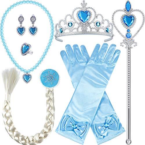 Tatuo 9 Stück Prinzessin Verkleiden Sich Accessoires Mädchen Kinder Voller Kostüm Set, Enthält Ohrringe Handschuhe Wand Braid Krone Halskette Ringe, (Märchen Kostüme Accessoires)