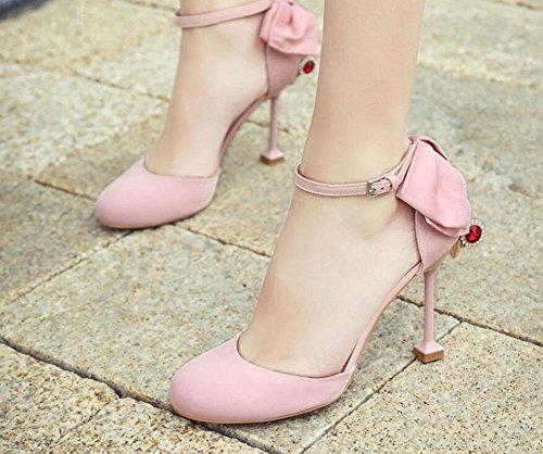 Bracelet En Cuir Avec Sangle Charme Poinde-toe Dorsay Bow Tie Sandales Personnalité Heel Womens Chaussures Noir Rose Rose