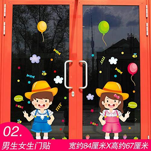Preisvergleich Produktbild ALLDOLWEGE Einfache Schaufenster Glas Tür Aufkleber dekorative Wand Aufkleber Aufkleber Farbe Farbe hotel hamburg Snacks zum Mittagessen,  Jungen und Mädchen Tür Aufkleber