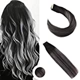 Ugeat 16zoll/40cm Ombre Echthaar Tressen Tape Extensions Hair 50g Glue in Extensions Echthaar Band Haar Schwarz mit Dunkelbraun bis Silber 20pcs Farbe #1B #4#Silver