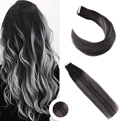 Ugeat 22zoll/55cm Ombre Echthaar Tressen Tape Extensions Hair 50g Glue in Extensions Echthaar Band Haar Schwarz mit Dunkelbraun bis Silber 20pcs Farbe #1B #4#Silver