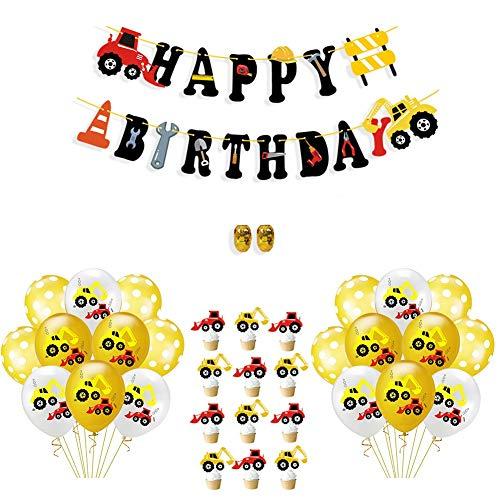 KroY PecoeD BAU-Geburtstagsfeier-Versorgungsmaterialien, BAU-Ballone Happy Birthday-Zeichen und Kuchen-Deckel Beste Party-Dekorationen für Jungen-Mädchen-Babyparty-Geburtstagsfeier-BAU-Thema-Partei