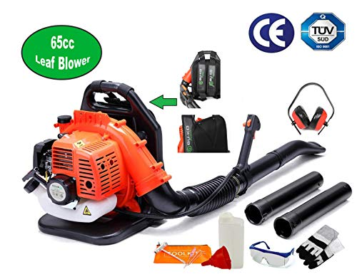 BU-KO 65CC Petrol Backpack Leaf Blower - Powerful 2 Stroke Air Cooled Engine - Lightweight With New and Improved Padded Support Straps While Using - Safety Gear