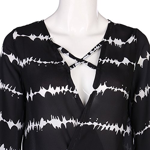 Topgrowth Camicia Donna in Chiffon Scollo a V Maglietta a Maniche Lunghe Strisce Top Irregolare Casuale Primavera Camicetta Nero