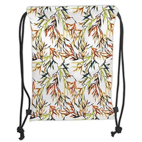 Drawstring Backpacks, traditioneller House Decor, Ethnic Bamboos Paint with East Chinese Folk Art Boho Dekor, Multi Soft Satin, 5 l Kapazität, verstellbar String Closure -