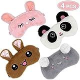 VEMEI 4pcs máscara para dormir lindo unicornio cuerno suave felpa con los ojos vendados cubierta para las mujeres niñas (Animal)