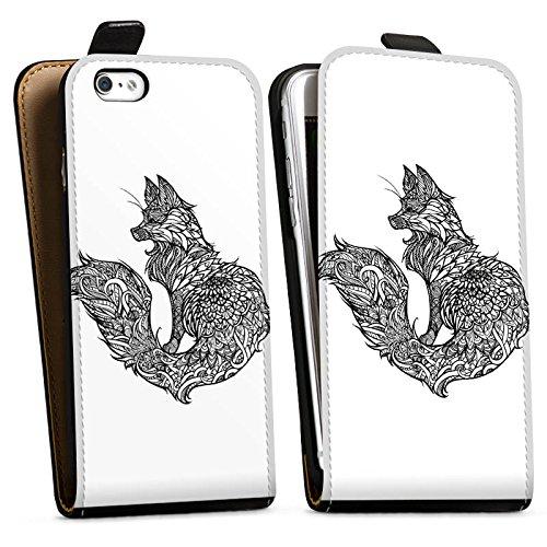 Apple iPhone X Silikon Hülle Case Schutzhülle Fuchs Mandala Fox Downflip Tasche schwarz