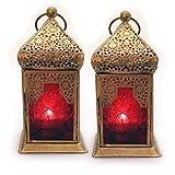 Deko Laterne Metall Glas Rot/Gold Teelicht Orientalisch Zum Stellen und Hängen set/2 Gall&Zick