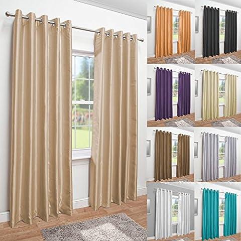 Luxury Faux Silk Fully Lined Eyelet Curtains (Latte, 117cm Width x 137cm Drop (46