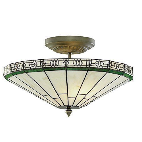 New York Hand Made Stained Glass Tiffany Semi-Flush Ceiling Light, 4417-17