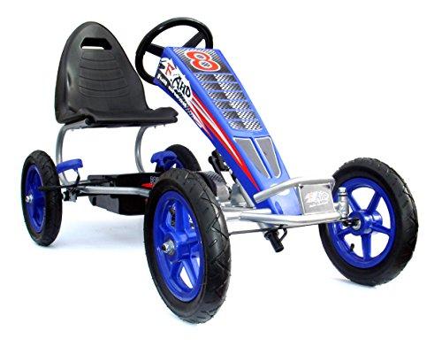 JOY 4KiDS Kids Go Kart à Pédale, Karts pour enfants, porteur voiture à pédale, Go Chariot, pneus Air gonflable en caoutchouc 5–12 ans bleu
