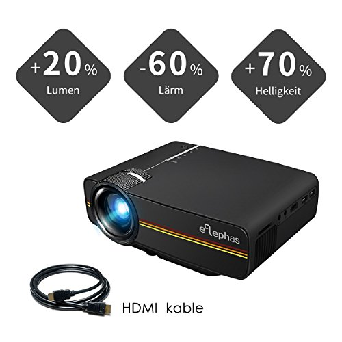 Beamer, ELEPHAS LED Mini Beamer unterstützt 1080P HD 1500 lumen für HDMI / VGA / AV / USB / SD für TV PC Laptop Kopfhörer iphone Filme und Video Spiele, - Multimedia-projektor Tragbar