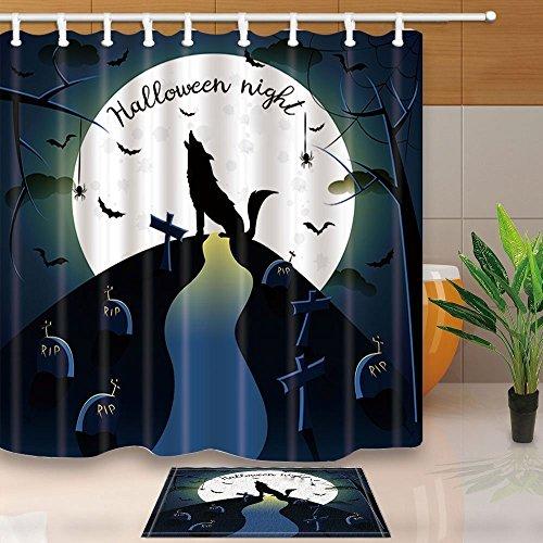ent Decor Halloween Hintergrund mit Wolf 179,8x 179,8cm Schimmelresistent Polyester Stoff Vorhang für die Dusche Anzug mit 39,9x 59,9cm Flanell rutschfeste Boden Fußmatte Bad Teppiche (Halloween-dusche Vorhang-set)