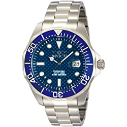 Invicta Men's Pro Diver Quartz Watch with Blue Dial Chronograph Display and Silver Stainless Steel Bracelet 12563