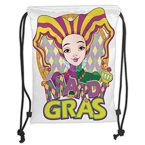 LULUZXOA Gym Bag Printed Drawstring Sack Backpacks Bags,Mardi Gras,Carnival Girl in Harlequin Costume and Hat Cartoon Fat Tuesday Theme,Yellow Purple Green Soft Satin,