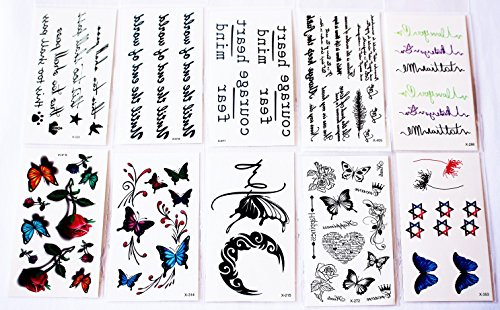 Set 10 Bogen wie Hauptbild Zeichen Schriftzug Rose Feder Stern Schmetterling Blume Herz temporäre Tattoos (temporäre Transferfolie, hautfreundlich) (Zeichen Tattoo)