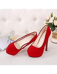 Jqdyl Zapatos de tacón Alto para Mujer Zapatos Impermeables de Plataforma única Zapatos de Mujer con Tacones Altos...